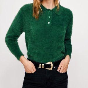 zara fuzzy green top